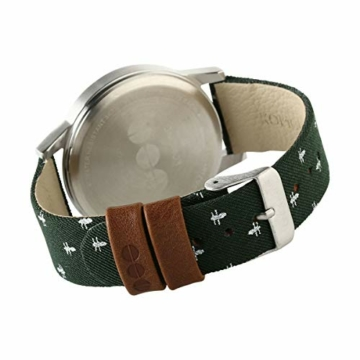 Komono Herren-Quarzuhr mit silberfarbenem Zifferblatt, Analog-Anzeige und grünem Lederband KOM-W2163 - 3