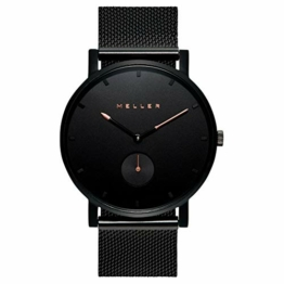 Meller Unisex Erwachsene Analog Quarz Uhr mit Edelstahl Armband 2NR-2BLACK - 1