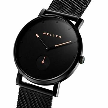 Meller Unisex Erwachsene Analog Quarz Uhr mit Edelstahl Armband 2NR-2BLACK - 2