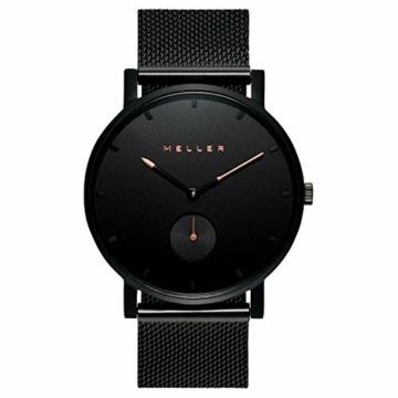 Meller Unisex Erwachsene Analog Quarz Uhr mit Edelstahl Armband 2NR-2BLACK - 3