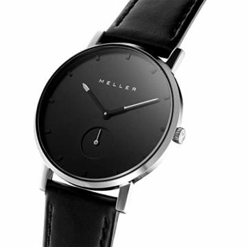 Meller Unisex Erwachsene Analog Quarz Uhr mit Edelstahl Armband 2S-1BLACK - 2