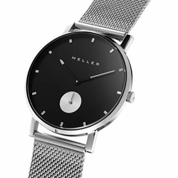 Meller Unisex Erwachsene Analog Quarz Uhr mit Edelstahl Armband 2S-2SILVER - 2