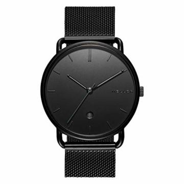 Meller Unisex Erwachsene Analog Quarz Uhr mit Edelstahl Armband 3N-2BLACK - 3
