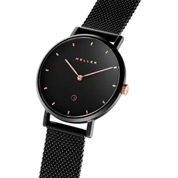 Meller Unisex Erwachsene Analog Quarz Uhr mit Edelstahl Armband W1NR-2BLACK - 2