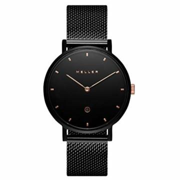 Meller Unisex Erwachsene Analog Quarz Uhr mit Edelstahl Armband W1NR-2BLACK - 3