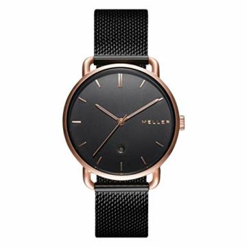 Meller Unisex Erwachsene Analog Quarz Uhr mit Edelstahl Armband W3R-2BLACK - 1