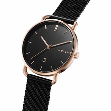 Meller Unisex Erwachsene Analog Quarz Uhr mit Edelstahl Armband W3R-2BLACK - 2