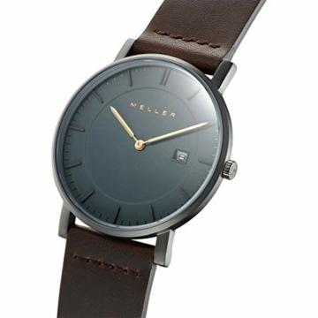 Meller Unisex Erwachsene Analog Quarz Uhr mit Leder Armband 1G-1BROWN - 2