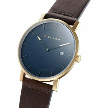 Meller Unisex Erwachsene Analog Quarz Uhr mit Leder Armband 1O-1BROWN - 2