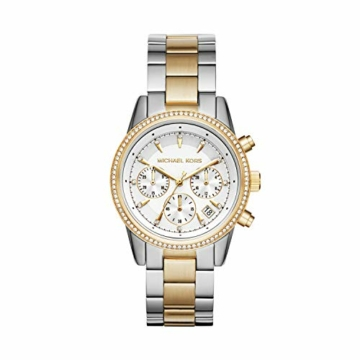 Michael Kors Damen Chronograph Quarz Uhr mit Edelstahl Armband MK6474 - 1