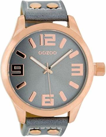 Oozoo Armbanduhr Basic Line mit Lederband 47 MM Rose/Blaugrau/Blaugrau C1154 - 1