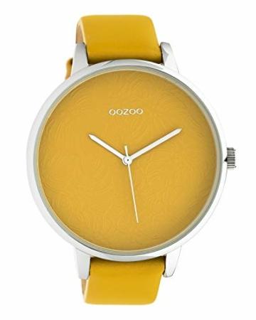 Oozoo Damenuhr mit Design Zifferblatt und Lederband 48 MM Senfgelb C10574 - 1