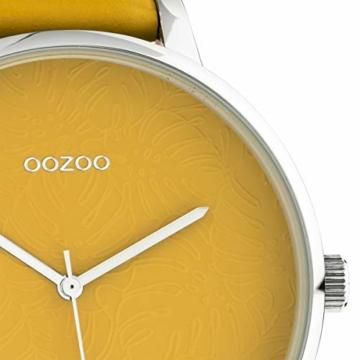 Oozoo Damenuhr mit Design Zifferblatt und Lederband 48 MM Senfgelb C10574 - 2