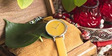 Oozoo Damenuhr mit Design Zifferblatt und Lederband 48 MM Senfgelb C10574 - 5