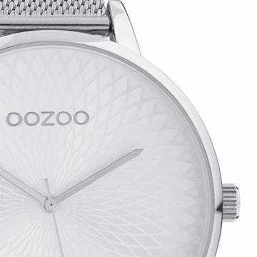 Oozoo Damenuhr mit Edelstahl Milanaiseband und Mandala Zifferblatt Silberfarben 48 MM C10550 - 2