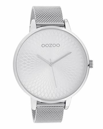 Oozoo Damenuhr mit Edelstahl Milanaiseband und Mandala Zifferblatt Silberfarben 48 MM C10550 - 1