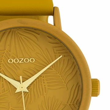 Oozoo Damenuhr mit Lederband 42 MM Colours of Summer Palmen Zifferblatt Unicolor Ocker C10172 - 2