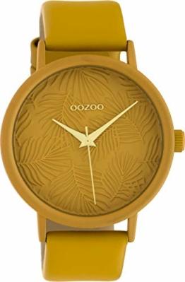 Oozoo Damenuhr mit Lederband 42 MM Colours of Summer Palmen Zifferblatt Unicolor Ocker C10172 - 1