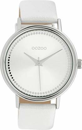 Oozoo Damenuhr mit Lederband 42 MM Silberfarben/Weiss C10149 - 1