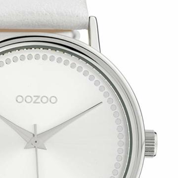 Oozoo Damenuhr mit Lederband 42 MM Silberfarben/Weiss C10149 - 3