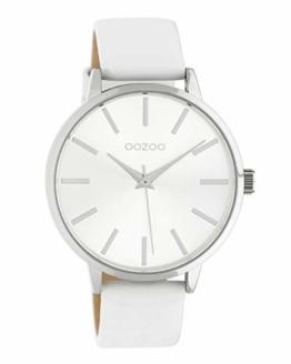 Oozoo Damenuhr mit Lederband 42 MM Silberfarben/Weiß C10610 - 1