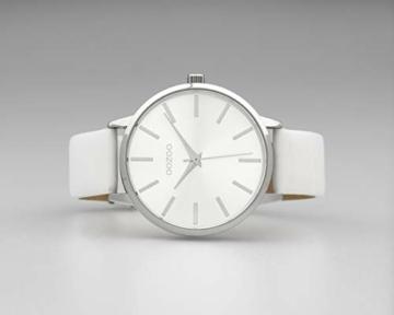 Oozoo Damenuhr mit Lederband 42 MM Silberfarben/Weiß C10610 - 3