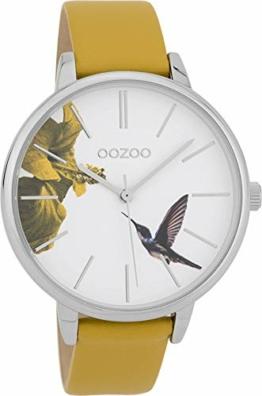 Oozoo Damenuhr mit Lederband 42 MM Vogel Blume/Senfgelb C9761 - 1
