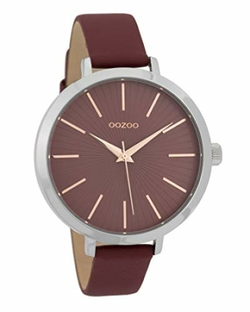 Oozoo Damenuhr mit Lederband 42 MM Weinrot/Weinrot C9673 - 1