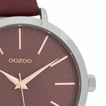 Oozoo Damenuhr mit Lederband 42 MM Weinrot/Weinrot C9673 - 2