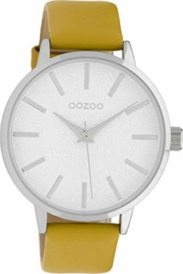 Oozoo Damenuhr mit Lederband 42 MM Weiss/Senfgelb C9750 - 1