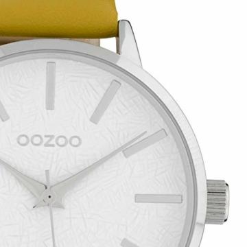 Oozoo Damenuhr mit Lederband 42 MM Weiss/Senfgelb C9750 - 2