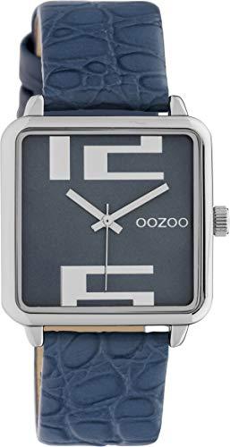 Oozoo Damenuhr Quadratisch mit Lederband 28 x 28 MM Silber/Blau C10366 - 1