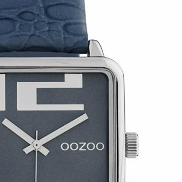 Oozoo Damenuhr Quadratisch mit Lederband 28 x 28 MM Silber/Blau C10366 - 2