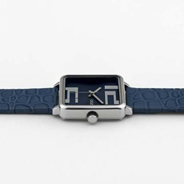 Oozoo Damenuhr Quadratisch mit Lederband 28 x 28 MM Silber/Blau C10366 - 3