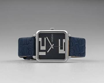 Oozoo Damenuhr Quadratisch mit Lederband 28 x 28 MM Silber/Blau C10366 - 4