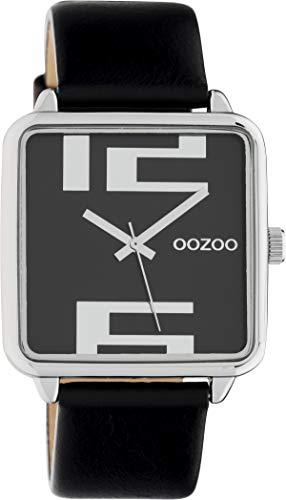 Oozoo Damenuhr Quadratisch mit Lederband 35 x 35 MM Silber/Schwarz C10364 - 1