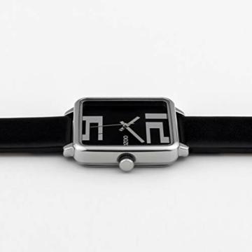 Oozoo Damenuhr Quadratisch mit Lederband 35 x 35 MM Silber/Schwarz C10364 - 3