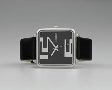 Oozoo Damenuhr Quadratisch mit Lederband 35 x 35 MM Silber/Schwarz C10364 - 4