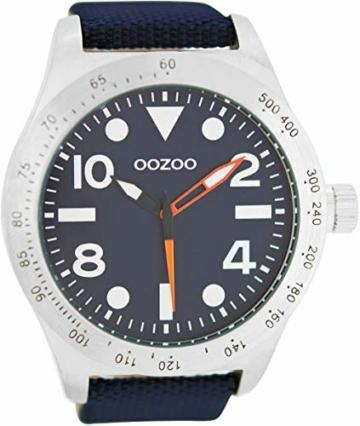 Oozoo Herrenuhr im Military Look mit Lederband 50 MM Dunkelblau/Dunkelblau C6752 - 1