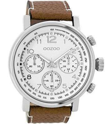 Oozoo Herrenuhr mit Lederband 48 MM Weiss/Braun C9455 - 1