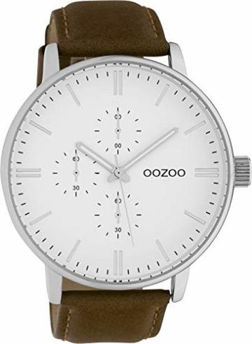 Oozoo Herrenuhr mit Lederband 50 MM Weiß/Braun C10311 - 1
