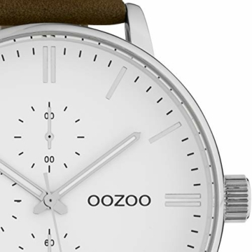 Oozoo Herrenuhr mit Lederband 50 MM Weiß/Braun C10311 - 2