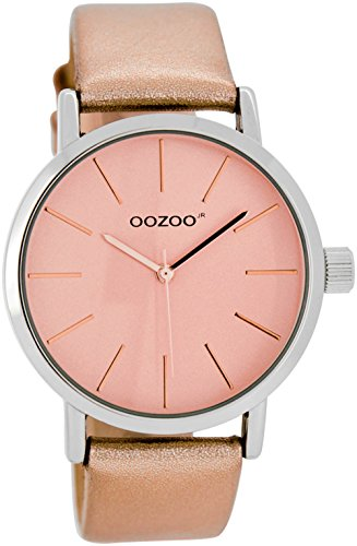 OOZOO JR278 Uhr Damenuhr Lederarmband Metall 20m Analog rose - 1