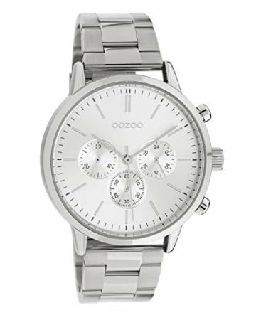 Oozoo Unisex Armbanduhr mit Edelstahl Gliederarmband 42 MM Silberfarben C10545 - 1
