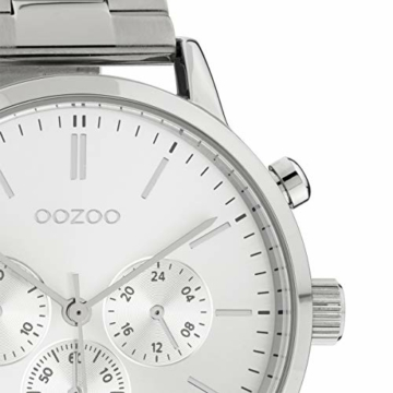 Oozoo Unisex Armbanduhr mit Edelstahl Gliederarmband 42 MM Silberfarben C10545 - 2