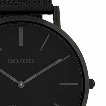 Oozoo Vintage Armbanduhr mit Edelstahl Milanaise Metallband 44 MM Black/Schwarz/Schwarz C9932 - 2
