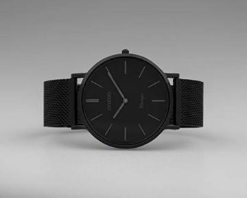 Oozoo Vintage Armbanduhr mit Edelstahl Milanaise Metallband 44 MM Black/Schwarz/Schwarz C9932 - 4