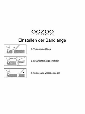 Oozoo Vintage Armbanduhr mit Edelstahl Milanaise Metallband 44 MM Black/Schwarz/Schwarz C9932 - 5