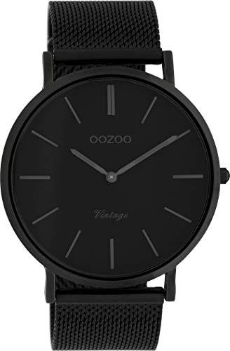 Oozoo Vintage Armbanduhr mit Edelstahl Milanaise Metallband 44 MM Black/Schwarz/Schwarz C9932 - 1