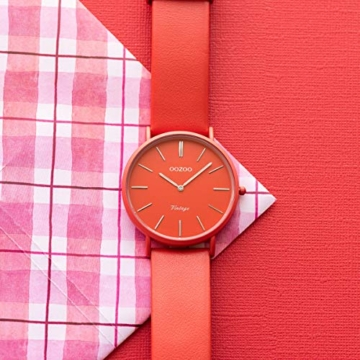 Oozoo Vintage Damenuhr Colors of The Summer mit Lederband Flach 40 MM Rot C9885 - 2